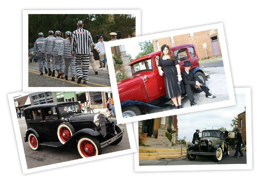 Four photos - Bonnie and Clyde actors, era appropriate cars, and line of prisoners in black and whit